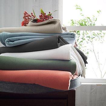 Bedding - Organic Plisse Blanket | west elm - organic blue blanket, organic taupe blanket, organic gray blanket, organic white blanket, organic green blanket, organic orange blanket,