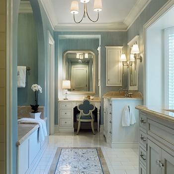 Jeannie Balsam - bathrooms - master bathroom, blue grasscloth, blue grasscloth wallpaper, light blue ceiling, painted ceiling, painted bathroom ceiling, bathroom ceiling, arched alcove, bathroom alcove, arched bathroom alcove, arched bathtub alcove, bathtub alcove, tub alcove, arched tub alcove, paneled bathtub, mosaic floor, mosaic tiled floor, his and her washstands, bathroom bay window, bay window, white framed mirror, bathroom nook, bathroom chandeliers, silver vanity mirror, vanity mirror, vanity niche, vanity nook, built in vanity, make up vanity, quatrefoil chair, blue quatrefoil chair, Small Vendome Chandelier,