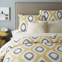 Bedding - Organic Ikat Diamond Duvet Cover + Shams - Horseradish | west elm - gray and yellow ikat bedding, gray and yellow ikat duvet cover, gray and yellow ikat diamond bedding, gray and yellow ikat bed linens,