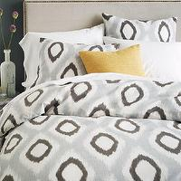 Bedding - Organic Ikat Diamond Duvet Cover + Shams - Slate | west elm - gray ikat bedding, gray ikat bed linens, gray ikat diamond duvet, gray ikat diamond duvet cover,