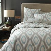 Bedding - Organic Ikat Diamond Duvet Cover + Shams - Light Pool | west elm - gray and blue ikat bedding, gray and blue ikat diamond bed linens, gray and blue ikat duvet cover,