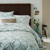 Bedding - Linking Circles Duvet Cover + Shams | west elm - blue and gray geometric bedding, blue and gray geometric duvet, blue and gray interlocking circles duvet, blue and gray graphic bedding,