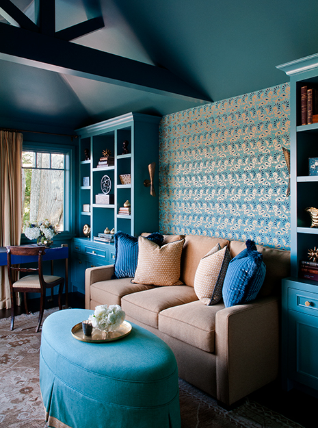 Turquoise Bookcase Contemporary Living Room Kendall