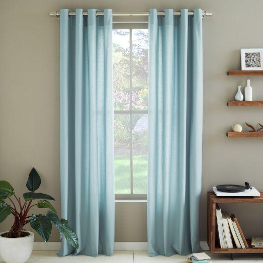 Cotton canvas grommet curtain mist west elm for West elm window treatments