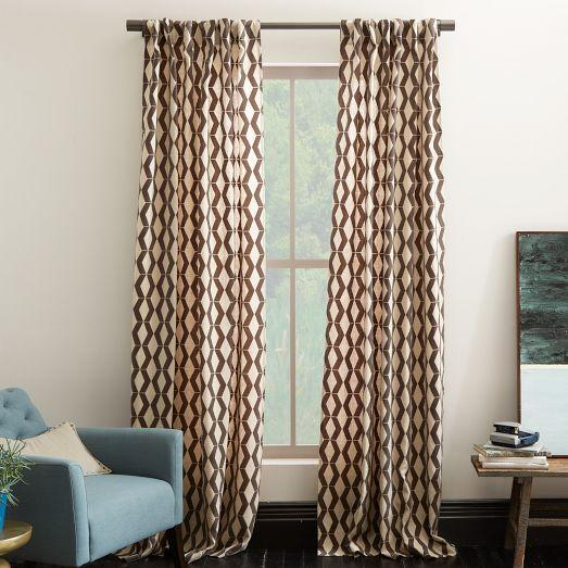 Rhombi flocked curtain west elm for West elm window treatments