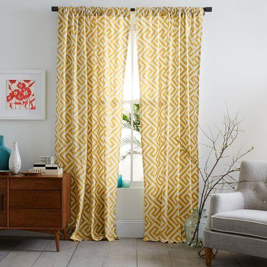Cotton canvas ikat key curtain horseradish west elm for West elm window treatments