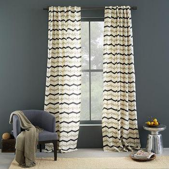 Window Treatments - Cotton Printed Curtain - Dotted Chevron | west elm - zig zag print drapes, zig zag print curtains, black and beige zig zag drapes, black and beige zig zag curtains,