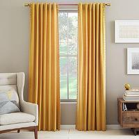 Window Treatments - Velvet Nailhead Curtain - Horseradish | west elm - yellow drapes, yellow curtains, yellow drapes with nailhead trim, yellow curtains with nailhead trim,