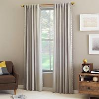 Window Treatments - Velvet Nailhead Curtain - Putty | west elm - gray drapes, gray velvet drapes with nailhead trim, gray velvet curtains with nailhead trim,