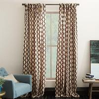 Window Treatments - Rhombi Flocked Curtain | west elm - brown and ivory geometric drapes, brown and ivory geometric curtains, brown geometric drapes, brown geometric curtains,
