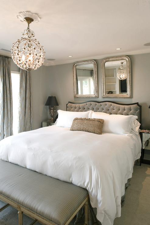 Hyde Evans Design - bedrooms - Benjamin Moore - Half Moon Crest - antique mirrors, gray bedrooms, mirrors over bed, mirrors over headboard, gray headboard, gray velvet headboard, gray tufted headboard, gray paint, gray wall paint, gray paint colors, gray silk curtains, gray silk draper,