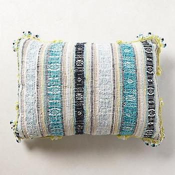 Pillows - Dian Jacquard Pillow - anthropologie.com - blue striped pillow, blue jacquard pillow, blue striped jacquard pillow,