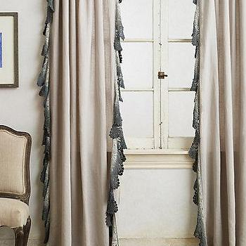 Window Treatments - Ombre Lace Curtain I anthropologie.com - gray ombre trimmed drapes, gray ombre lace curtains, gray ombre lace drapes, lace trimmed curtains, gray lace trimmed curtains,