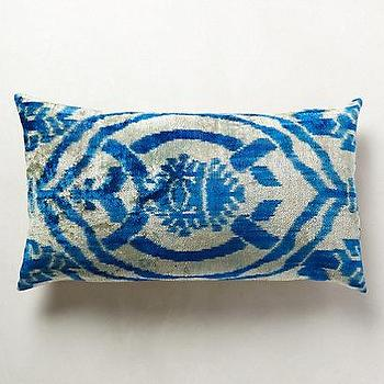 Pillows - Handwoven Tokat Pillow I anthropologie.com - gray and blue pillow, gray and blue ikat pillow, gray and blue velvet pillow,