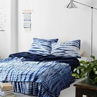 Bedding - Noodle Indigo Tie-Dye Bed Blanket I Urban Outfitters - indigo blue tie-dye blanket, indigo blue and white blanket, indigo blue tie-dye bedding,