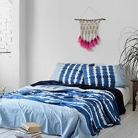Bedding - Noodle Indigo Stripe Bed Blanket I Urban Outfitters - indigo blue striped blanket, indigo blue tie-dye blanket, blue and white tie-dye blanket,