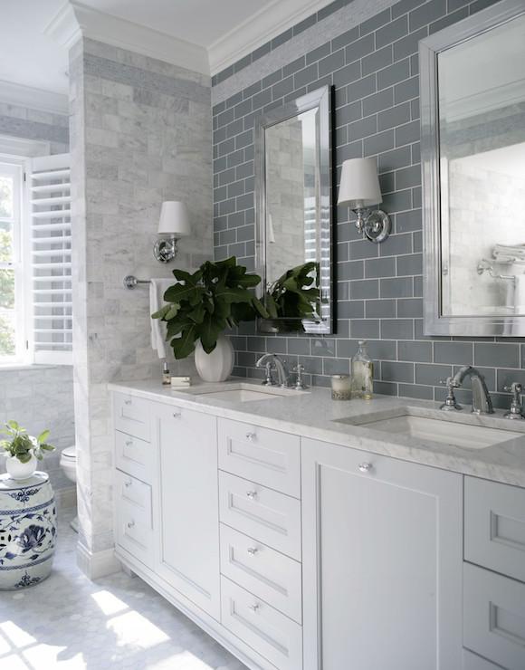 gray subway tiles  transitional  bathroom  heather