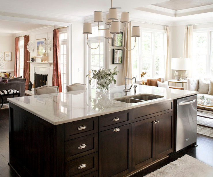 Kitchen island dishwasher transitional kitchen for Chocolate brown kitchen designs