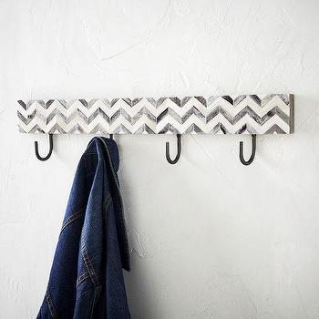 Art/Wall Decor - Parsons Hooks - Gray Herringbone | west elm - herringbone wall hook, bone inlay wall hook, inlaid bone wall hook, chevron bone inlay wall hook, herringbone bone inlay wall hook,