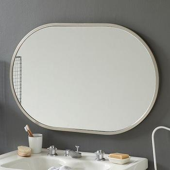 Metal Oval Wall Mirror, Brushed Nickel, west elm