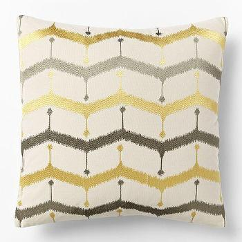 Embroidered Chevron Lattice Pillow Cover, Horseradish, west elm