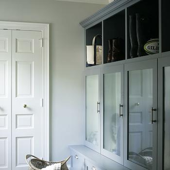 Heather Garrett Design - laundry/mud rooms - slate tile, slate tiled floor, slate tile floor, nickel hardware, cup pull hardware, woven basket, woven hamper, black enamel pendant, gray walls, gray wall color, mud room built-ins, mud room bench, storage bench, mud room storage, mud room cubbies, mud room cabinets, mud room cabinetry, frosted glass door, gray green cabinets, gray green cabinetry, mud room organization, mudroom cabinets, gray mudroom cabinets, gray mudroom, mudroom cabinets,