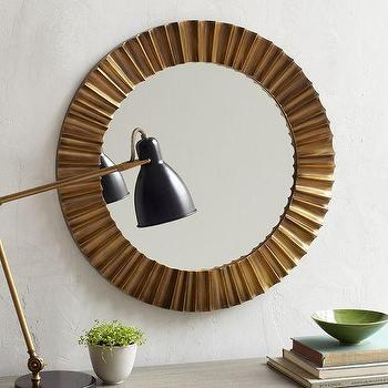 Mirrors - Pleated Mirror | west elm - round art deco style mirror, antiqued brass mirror, round antiqued brass mirror,