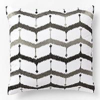 Pillows - Embroidered Chevron Lattice Pillow Cover - Slate | west elm - black and gray chevron pillow, black and gray embroidered pillow, contemporary black and gray pillow,