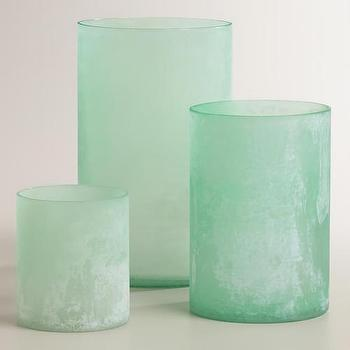 Decor/Accessories - Blue Seaglass Hurricane Candleholders | World Market - blue seaglass candleholder, seaglass hurricane candleholder, aqua blue glass candleholder,