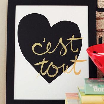 Art/Wall Decor - C'est Tout (It's Everything) - Love Screen Print I Charm & Gumption - c'est tout art print, c'est tout wall art, black heart gold c'est tout wall decor, black and gold heart art print,