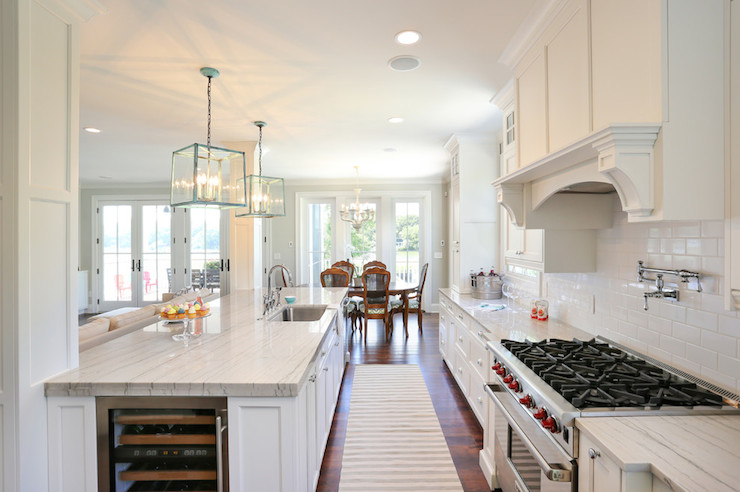 Island Wine Fridge Transitional Kitchen Charleston