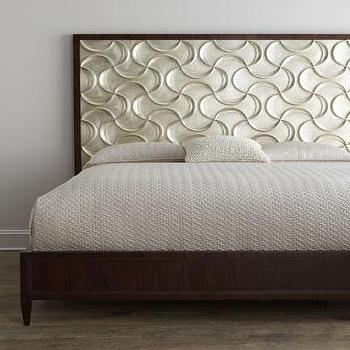 Beds/Headboards - Ribbons Bedroom Furniture I Neiman Marcus - silver leafed headboard, geometric silver leafed headboard, silver headboard,
