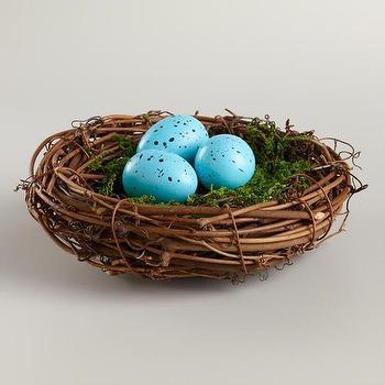 Miscellaneous - Mossy Robin's Eggs Nest | World Market - birds nest decor, robins nest decor, robin eggs in nest decor,