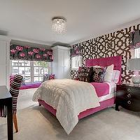 Great Neighborhood Homes - girl's rooms: geometric wallpaper, moorish wallpaper, geometric brown and white wallpaper, wallpapered accent wall, gray walls, gray wall color, black desk, contemporary black desk, black lacquered desk, beige carpet, wall to wall carpet, pink gray and white striped chair, pink gray and white striped desk chair, crown molding, pink velvet bed, pink velvet headboard, tufted pink velvet headboard, white duvet, white pintuck duvet, pink bedding, black and pink floral pillow, life is beauty full pillow, windows flanking headboard, gray and pink floral shade, gray and pink floral roman shade, pink and gray bedroom, window seat, built-in window seat, window seat storage, fuchsia pink pillow, fuchsia pink tufted seat cushion, pink window seat cushion, sash window, double hung window, double hung sash window, black gray and pink floral window shade, black gray and pink floral roman shade, carpet, wall to wall carpet, pink and gray bedroom, modern black nightstand, black nightstand with gold ring pull hardware, gray table lamp, wallpaper accent wall, trellis wallpaper, brown trellis wallpaper, white and brown wallpaper, hot pink bed, hot pink tufted bed, hot pink tufted headboard, pink and gray roman shades, modern floral roman shades, pintuck duvet, striped desk chair, kids window seat,