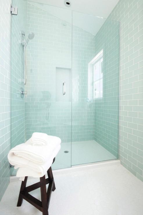 Blue Glass Subway Tile Bathroom Quotes