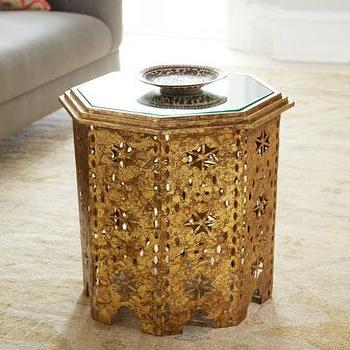 Tables - Casablanca Side Table I Neiman Marcus - gold moroccan side table, moroccan style side table, metallic gold moroccan side table,