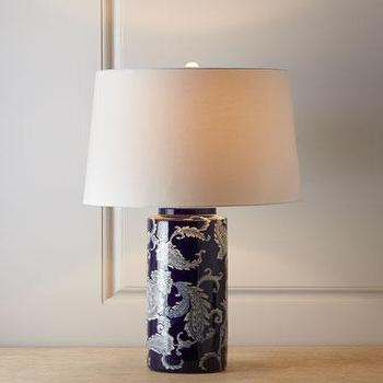 Tables - Blue Paisley Lamp I Neiman Marcus - blue paisley lamp, blue and white paisley lamp, blue paisley table lamp,