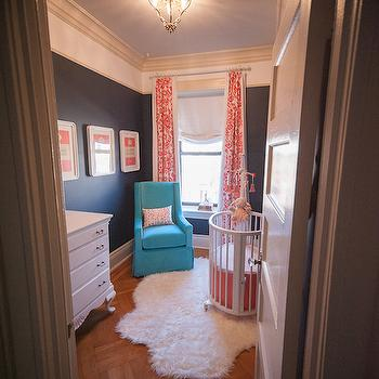 Blue and Orange Nursery, Contemporary, nursery, Martha Stewart Wrought Iron, Brooklyn Limestone