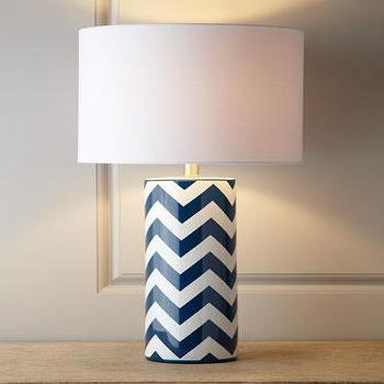 Lighting - Chevron Lamp I Neiman Marcus - chevron lamp, blue and white chevron lamp, navy and white chevron lamp,