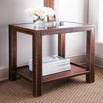 Tables - Nailhead Side Table I Neiman Marcus - nailhead trimmed side table, leather side table with nailhead trim, leather side table with glass top and nailhead trim,