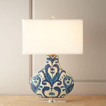 Lighting - Scalamandre Maison by Port 68 Greystone Indigo Lamp I Neiman Marcus - ikat table lamp, blue and white ikat table lamp, hand painted ikat table lamp,