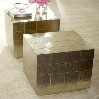 Tables - Linea Side Table I Neiman Marcus - gold cube shaped side table, metallic cube shaped accent table, cubist gold side table,