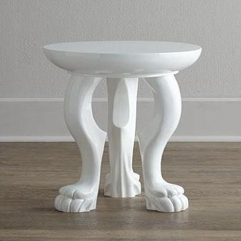 Tables - Arteriors Bastrop Side Table I Neiman Marcus - white animal foot side table, animal foot side table, white claw-foot side table,