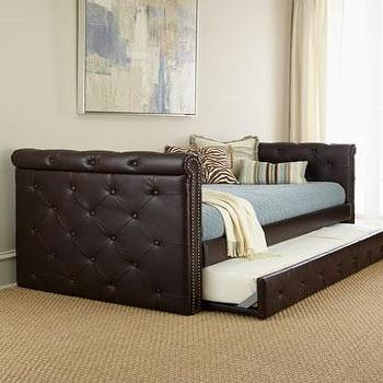 Beds/Headboards - Raven Tufted Leather Daybed I Neiman Marcus - brown leather tufted daybed, leather trundle daybed, tufted leather daybed with trundle, brown leather tufted nailhead daybed,