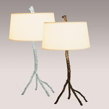 Lighting - Michael Aram Enchanted Forest Table Lamp I Neiman Marcus - silver branch table lamp, copper branch table lamp, branch shaped table lamp,