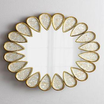 Mirrors - Jonathan Adler Petal Mirror I Neiman Marcus - petal shaped mirror, abalone shell mirror, flower shaped mirror, petal framed mirror,