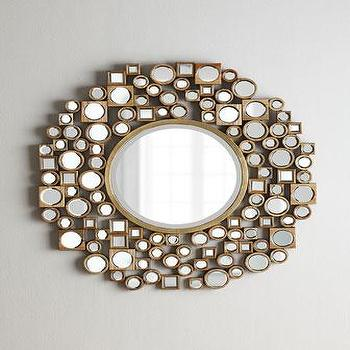 Mirrors - Golden Jorn Mirror I Neiman Marcus - gold geometric framed mirror, gold mirror framed mirror, gold mosaic framed round mirror, gold mirrored mosaic mirror,