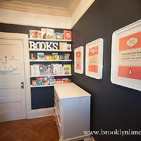 Brooklyn Limestone - nurseries - nursery art, navy blue walls, navy blue paint, navy blue paint colors, navy paint, navy paint colors, vintage changing table, nursery bookshelf, nursery bookshelves, ikea ribba book ledge, book ledge, parquet wood floor, , Ikea Ribba Picture Ledge,