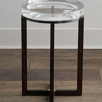Tables - Pierce Side Table I Neiman Marcus - acrylic side table, concave acrylic side table, iron based acrylic side table,