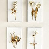 Art/Wall Decor - Tommy Mitchell Gilded Flower Studies in Acrylic I Neiman Marcus - gold floral art, gold and white botanical art, gold and white floral art, gold floral sculpture,